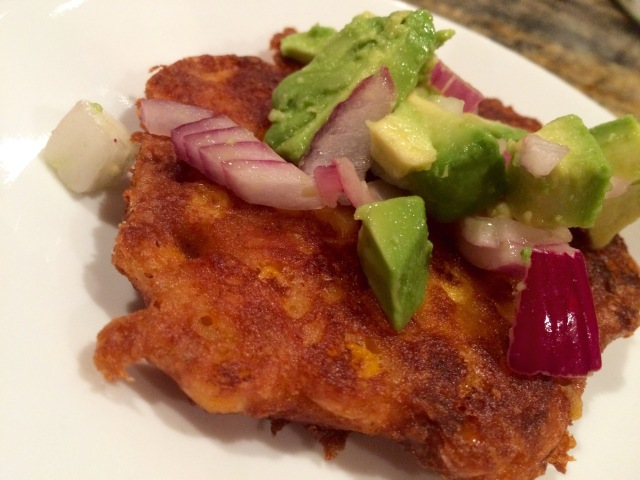 Cheesy Corn Cakes w/ Avocado Salsa